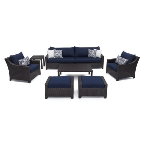Deco 8pc Sofa & Club Chair Deep Seating Set with Navy Blue Cushions by RST Brands®