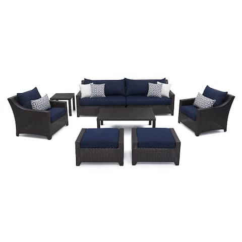 Deco 8pc Sofa & Club Chair Deep Seating Set with Navy Blue Cushions by RST Brands