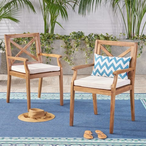 Perla Outdoor Acacia Wood Dining Chair (Set of 2) by Christopher Knight Home