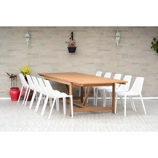 Link to Perce White 11-piece Rectangular Side Chair Patio Dining Set by Havenside Home Similar Items in Patio Furniture