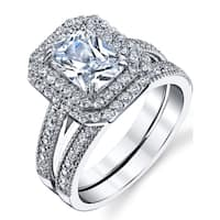 Oliveti 2 Carant Emerald Cut Sterling Silver and Cubic Zirconia Wedding Ring Bridal Set