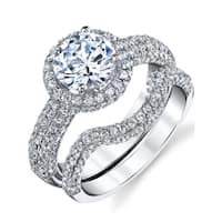 Oliveti Sterling Silver Bridal Engagement  Ring set 2 Carat Round Cubic Zirconia