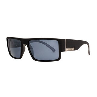 Anarchy Argh Mens Black Frame with Silver Mirror Polarized Lens Sunglasses - Large