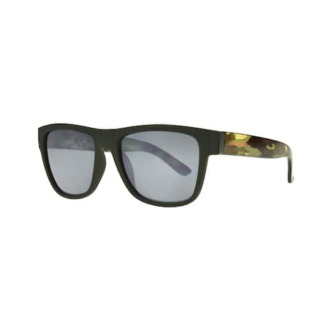 Anarchy Omen Mens Green Camo Frame with Silver Mirror Polarized Lens Sunglasses - Camouflage - Large