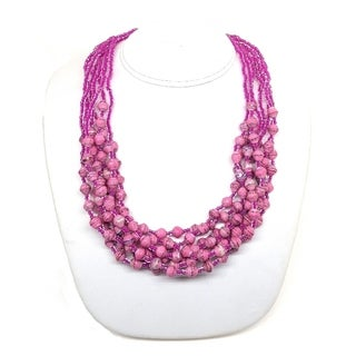 Handmade Recycled Paper Bead Mukisa Necklace Spring Pink (Uganda)