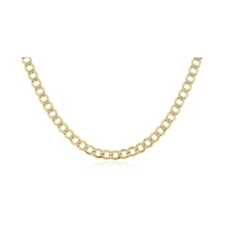 6 8MM Diamond Cut Pave Cuban Curb Link Necklace In 14K Solid Gold BOXED