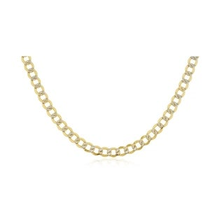 6.8MM Diamond-cut Pave Cuban Curb Link Necklace in 14K Solid Gold BOXED