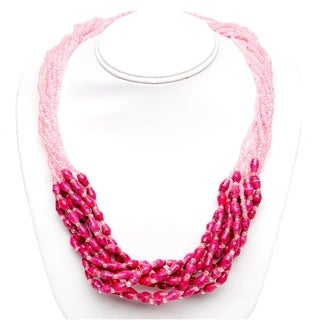 Handmade Recycled Paper Bead Mukisa Necklace Pink Light Pink (Uganda)