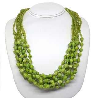 Handmade Recycled Paper Bead Mukisa Necklace Spring Green (Uganda)