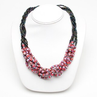 Handmade Recycled Paper Bead Mukisa Necklace Pink Purple (Uganda)