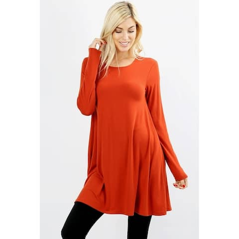 JED Women's Soft Fabric Extra Long Swing Tunic with Side Pockets