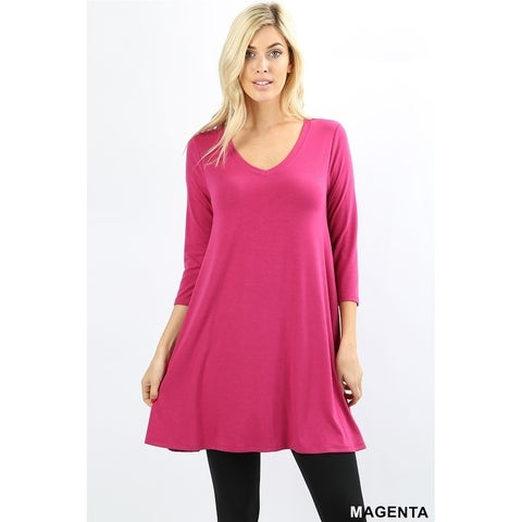 JED Women's Soft Fabric Flared Extra Long Tunic Top with Pockets