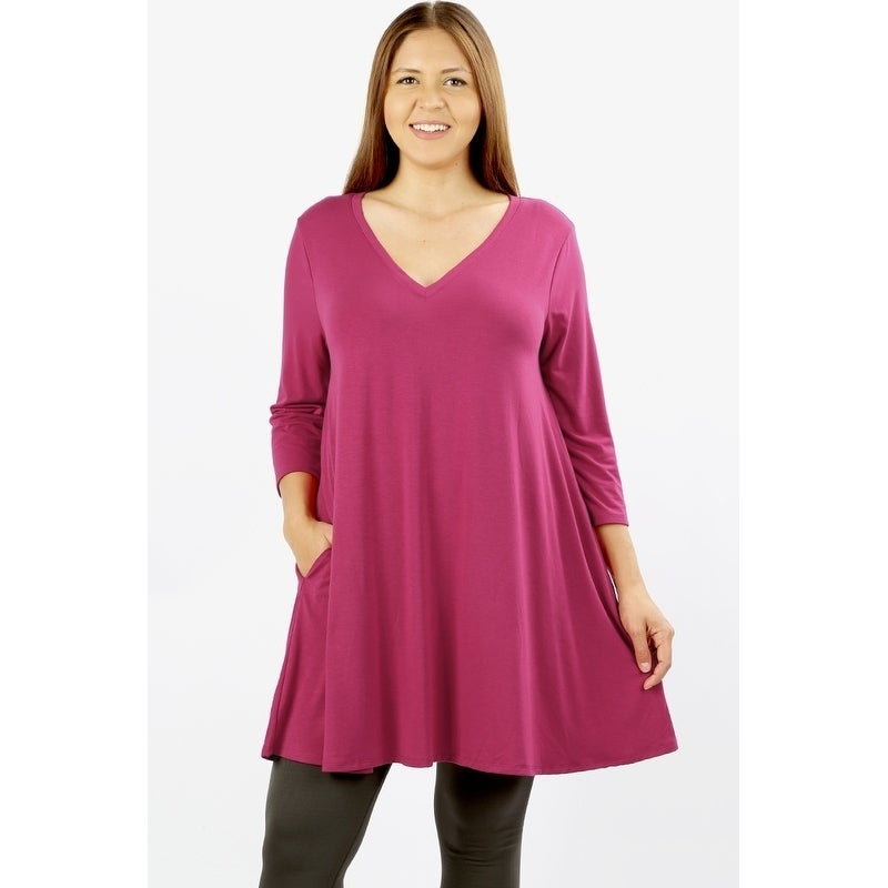 JED Womens Plus Size Longline V-Neck Tunic Top with Pockets