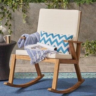 Champlain Outdoor Acacia Wood Rocking Chair by Christopher Knight Home (2 options available)