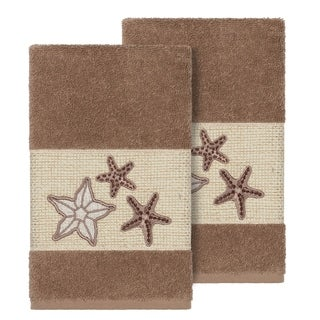 Authentic Hotel and Spa Latte Brown Turkish Cotton Starfish Embroidered Hand Towels (Set of 2)