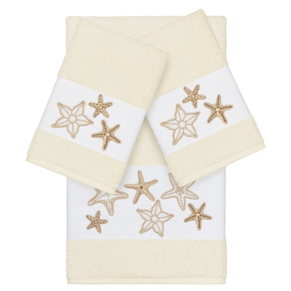 Authentic Hotel and Spa Cream Turkish Cotton Starfish Embroidered 3 piece Towel Set