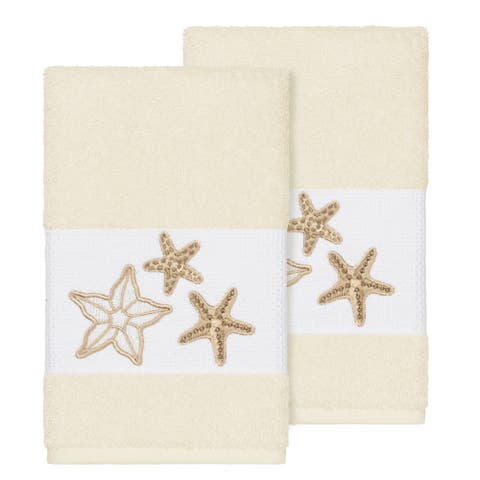 Authentic Hotel and Spa Cream Turkish Cotton Starfish Embroidered Hand Towels (Set of 2)