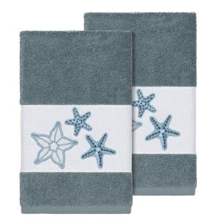 Authentic Hotel and Spa Teal Blue Turkish Cotton Starfish Embroidered Hand Towels (Set of 2)