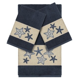 Authentic Hotel and Spa Midnight Blue Turkish Cotton Starfish Embroidered 3 piece Towel Set