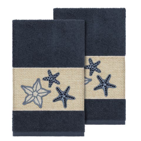 Authentic Hotel and Spa Midnight Blue Turkish Cotton Starfish Embroidered Hand Towels (Set of 2)