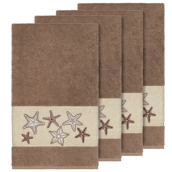 Authentic Hotel And Spa Latte Brown Turkish Cotton Starfish Embroidered Bath Towels Set Of 4 On Free Shipping Today 21133803