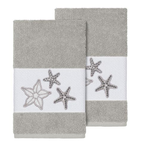 Authentic Hotel and Spa Grey Turkish Cotton Starfish Embroidered Hand Towels (Set of 2)