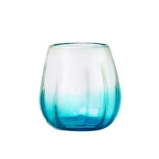Rosa Stemless Wine Glass, Optic Ombre Aqua, Set of 4, 16 oz