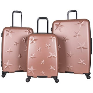 Aimee Kestenberg 3-Piece Lightweight Star Embossed Hardside 4-Wheel Spinner Upright Luggage Set (Option: rose gold)