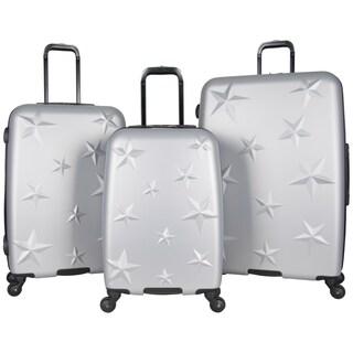 Aimee Kestenberg 3-Piece Lightweight Star Embossed Hardside 4-Wheel Spinner Upright Luggage Set (Option: metallic light silver)