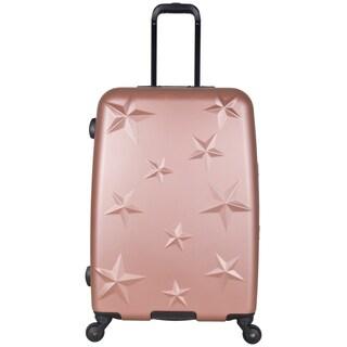 Aimee Kestenberg 24-inch Lightweight Star Embossed Hardside 4-Wheel Spinner Suitcase (Option: rose gold)