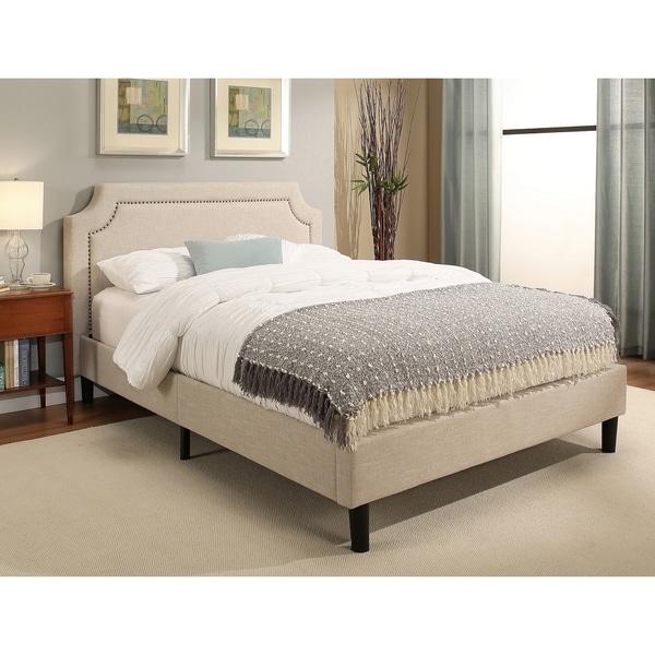 shop abbyson allegro cream upholstered queen platform bed