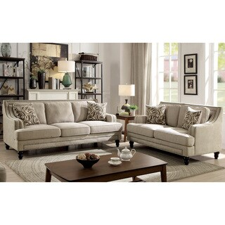 Furniture of America Selene Traditional 3-Piece Beige Linen-like Sofa Set