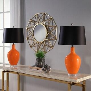 Abbyson Sumatra Orange Ceramic Table Lamp Set Of 2