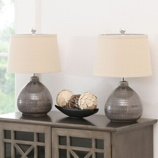 Abbyson Fallon Grey Ceramic 18-inch Table Lamp Set Of 2
