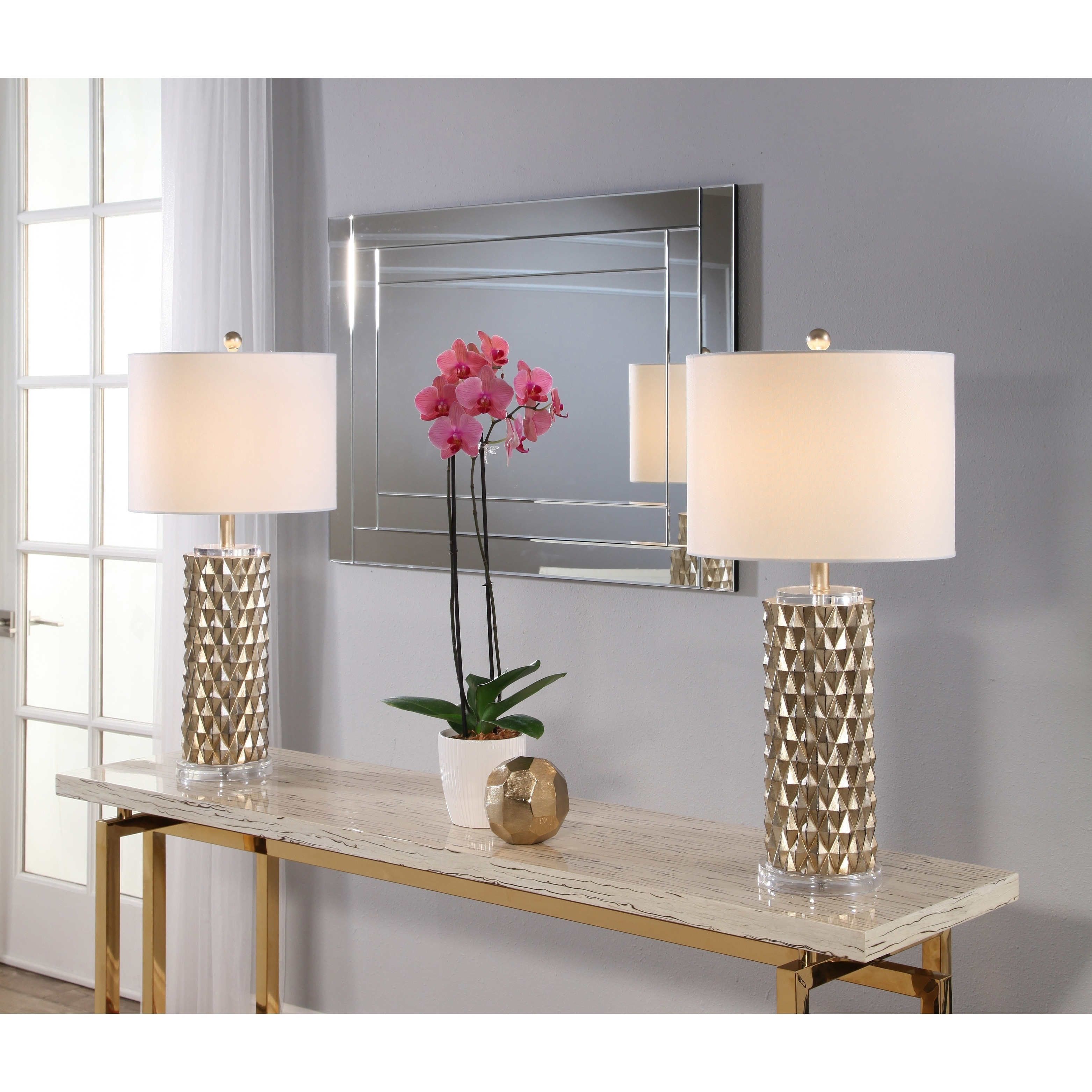 Abbyson Francesco Textured Gold 30 Inch Table Lamp Set Of 2 Overstock 21134126