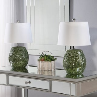 Abbyson Mallorca Green Ceramic Table Lamp Set Of 2