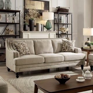 Furniture of America Selene Traditional Beige Linen Sofa