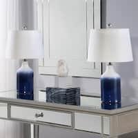Abbyson Mikonos Blue Ceramic Table Lamp Set Of 2