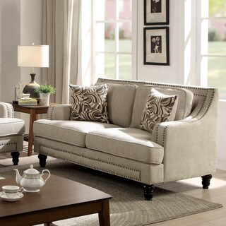 Furniture of America Selene Traditional Beige Linen-like Loveseat