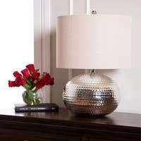 Abbyson Hammered Silver Finish 20-inch Table Lamp