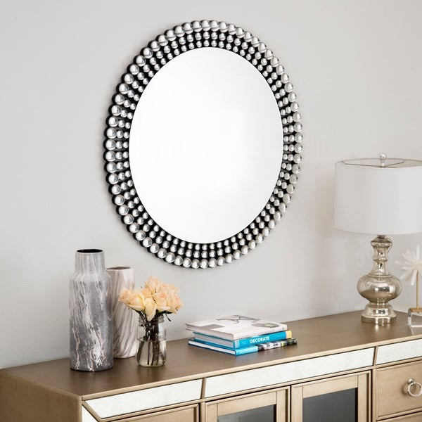 Shop Abbyson Silver Beaded Round Wall Mirror On Sale