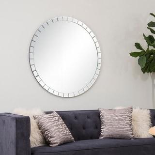 Abbyson Alba Round Wall Mirror - Silver