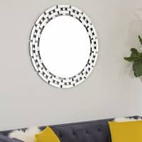 Abbyson Chain Link Round Wall Mirror - Silver