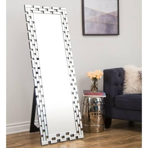 Devon Glam Standing Floor Mirror - Silver By Abbyson