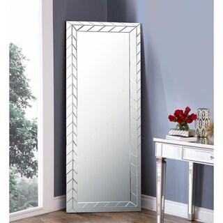 Abbyson Chevron Standing Floor Mirror - Silver