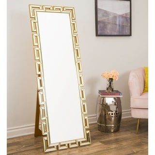 Pierre Glam Gold Standing Floor Mirror By Abbyson