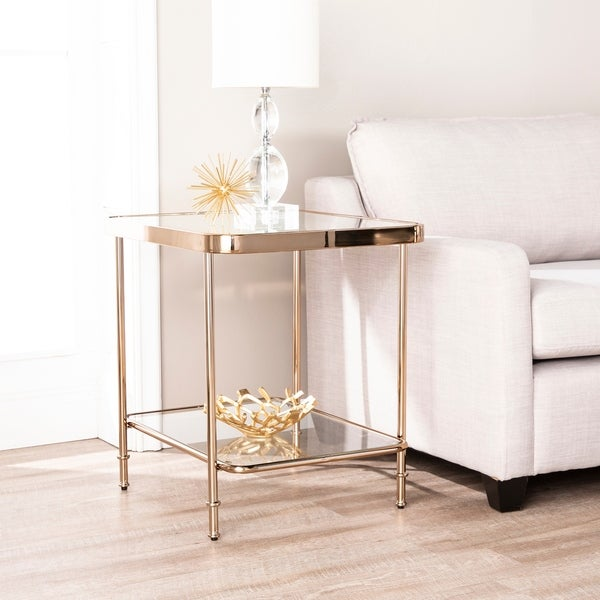 Champagne Mirrored Coffee Table: Shop Harper Blvd Sanmeyer Champagne Mirrored End Table