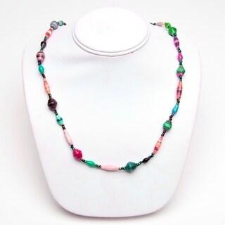 Handmade Recycled Paper Bead Tefula Necklace Light MultiColor (Uganda)