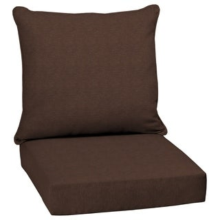 Arden Selections Chocolate Lamar Texture 2-Piece Deep Seating Outdoor Dining Chair Cushion Set
