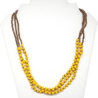 Handmade Recycled Paper Bead Najuma Necklace Yellow Gold (Uganda)